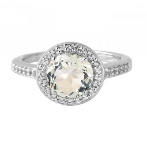 White quartz solitaire ring