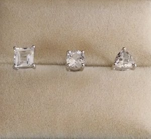 White topaz 3 Earring Set