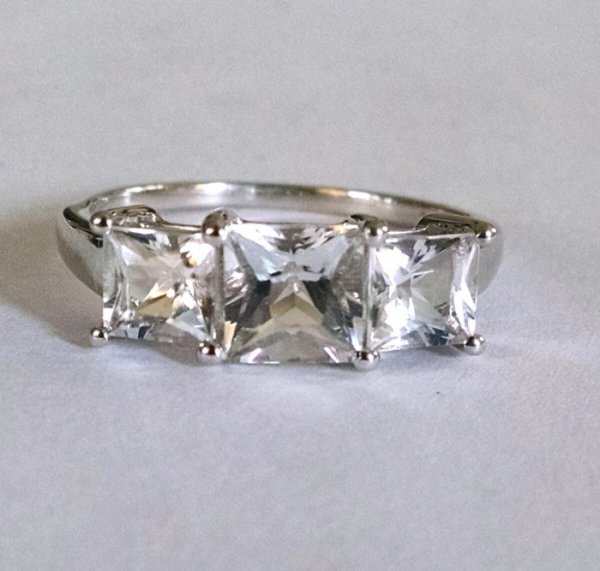 White topaz trilogy princess cut